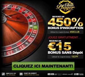 code bonus pour casino club player